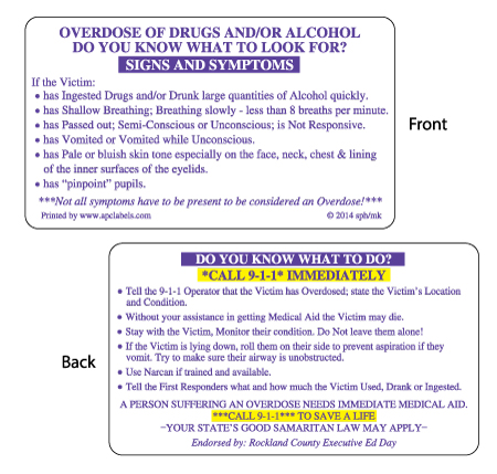 Alcohol Poisoning Card Sample